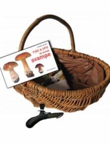Startsæt svampe kurv, kniv og bog