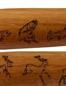 Kniv med jagt eller fiske motiv